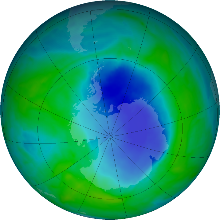 Antarctic ozone map for 11 December 2008