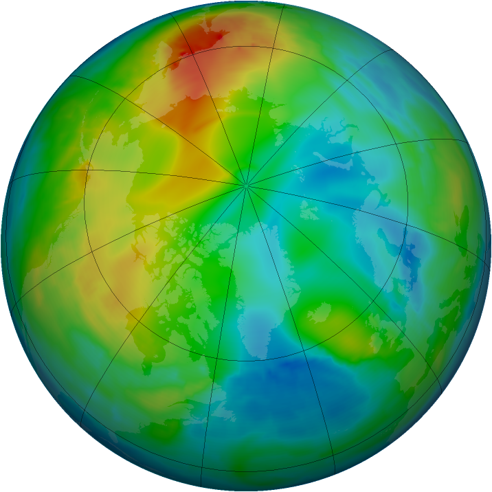 Arctic ozone map for 13 December 2008