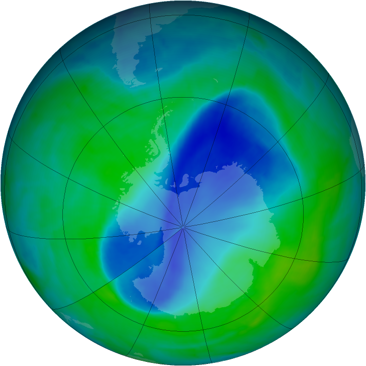 Antarctic ozone map for 14 December 2008
