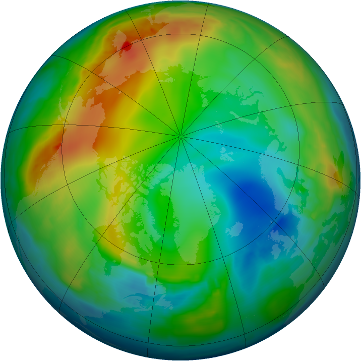 Arctic ozone map for 24 December 2008