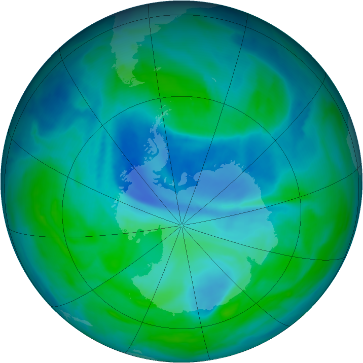 Antarctic ozone map for 27 December 2008