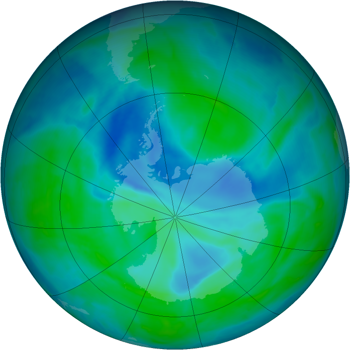 Antarctic ozone map for 28 December 2008
