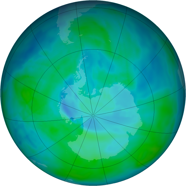 Antarctic ozone map for 31 December 2008