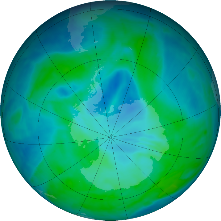 Antarctic ozone map for 03 January 2009