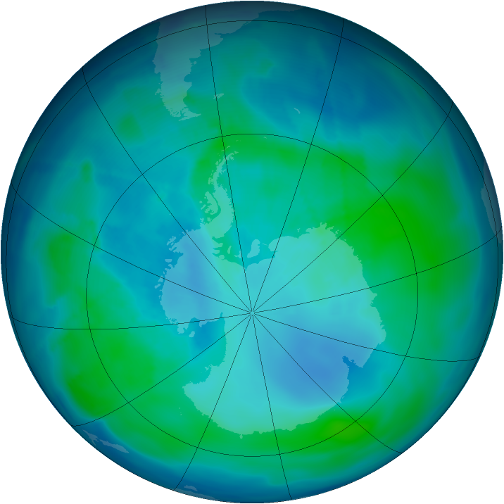 Antarctic ozone map for 01 February 2009