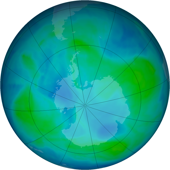 Antarctic ozone map for 02 February 2009