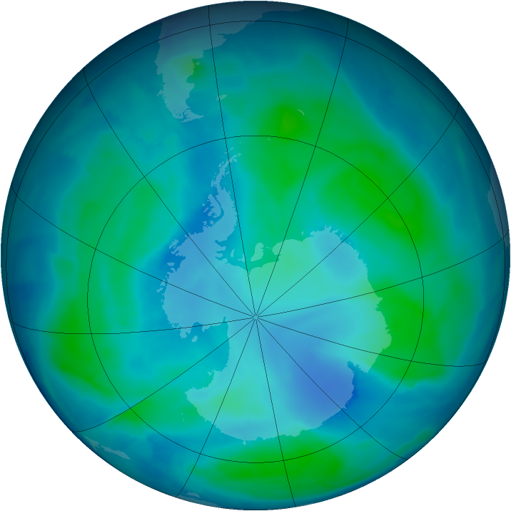 Antarctic ozone map for 05 February 2009