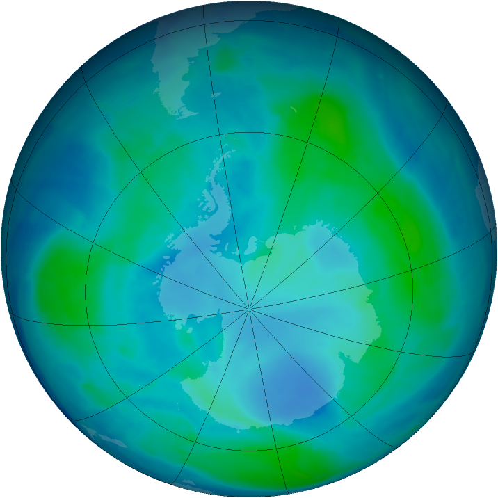 Antarctic ozone map for 06 February 2009