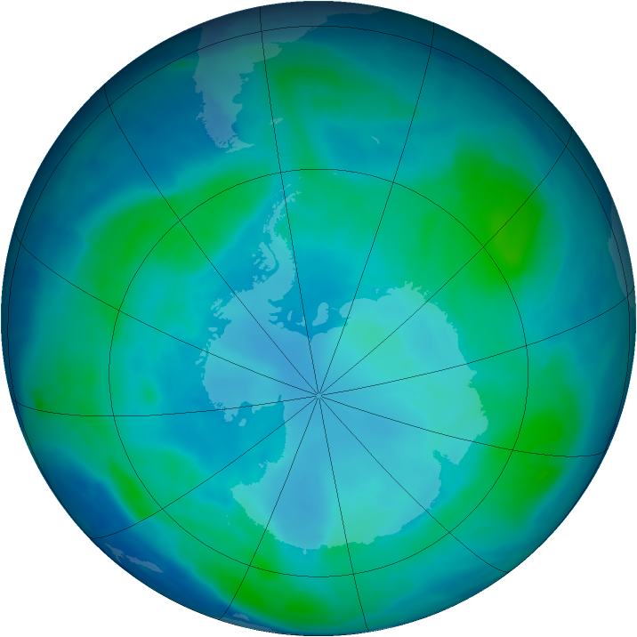 Antarctic ozone map for 08 February 2009
