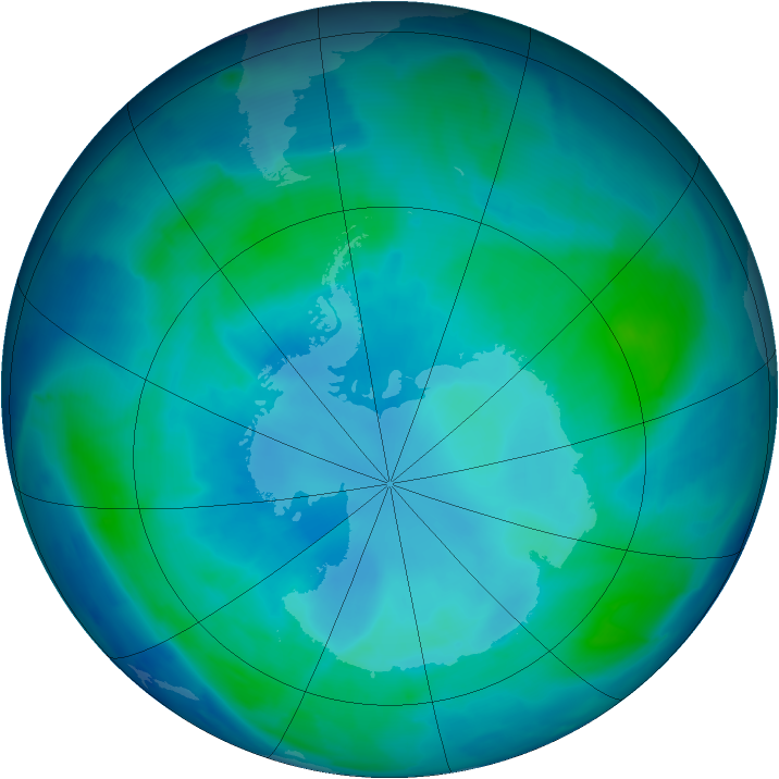 Antarctic ozone map for 09 February 2009