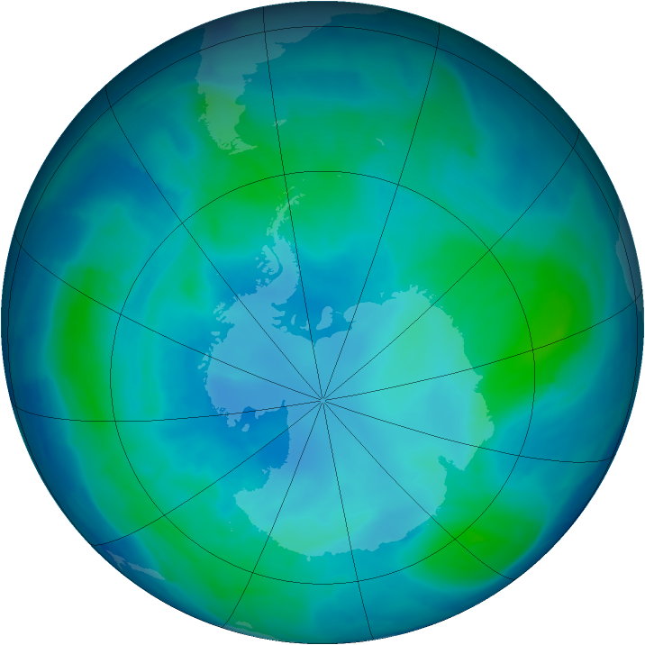 Antarctic ozone map for 10 February 2009
