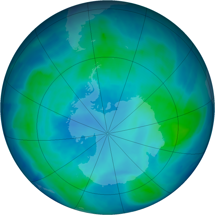 Antarctic ozone map for 11 February 2009