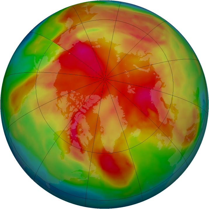 Arctic ozone map for 12 February 2009