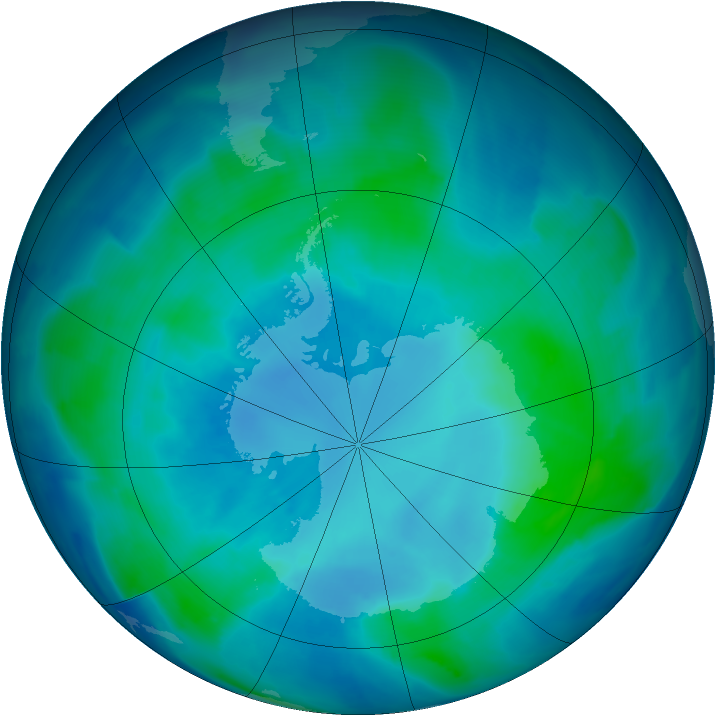 Antarctic ozone map for 12 February 2009