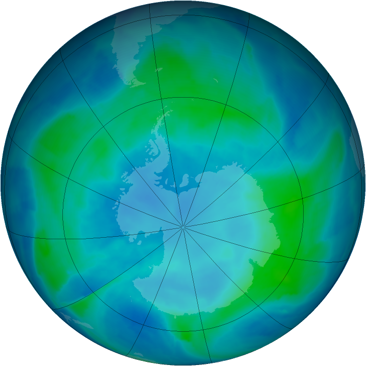 Antarctic ozone map for 13 February 2009