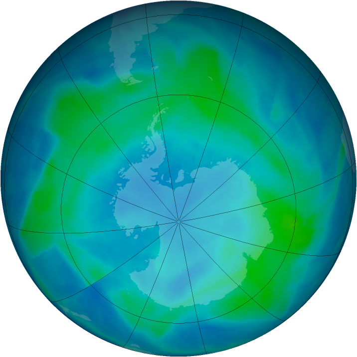 Antarctic ozone map for 14 February 2009