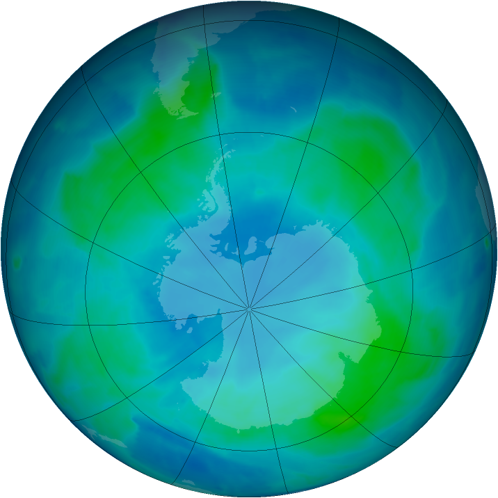 Antarctic ozone map for 16 February 2009