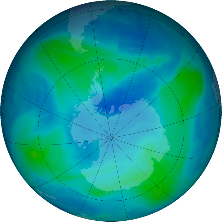 Antarctic ozone map for 18 February 2009