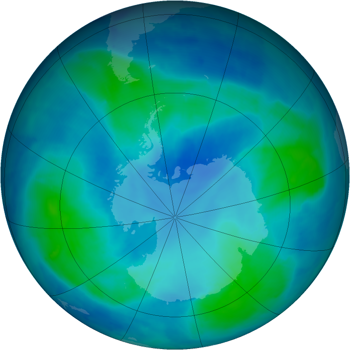 Antarctic ozone map for 19 February 2009