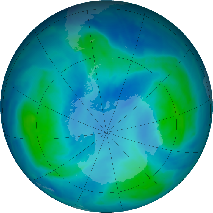 Antarctic ozone map for 20 February 2009
