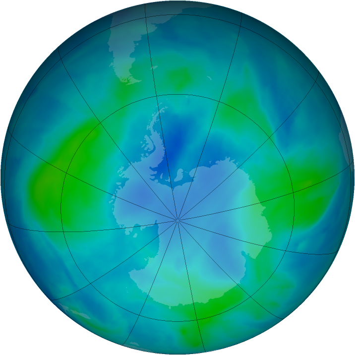 Antarctic ozone map for 22 February 2009