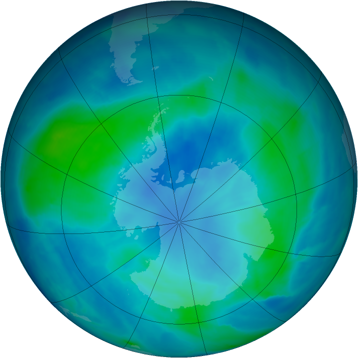 Antarctic ozone map for 24 February 2009