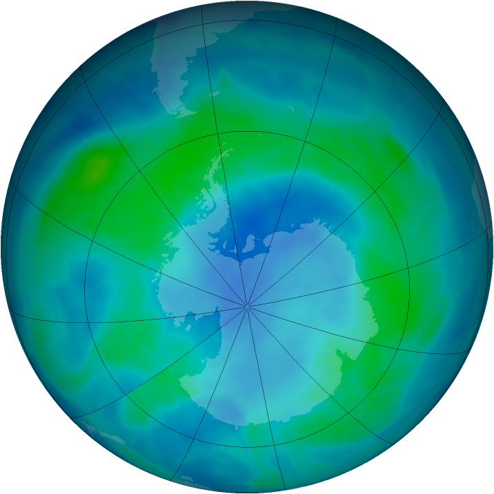 Antarctic ozone map for 26 February 2009