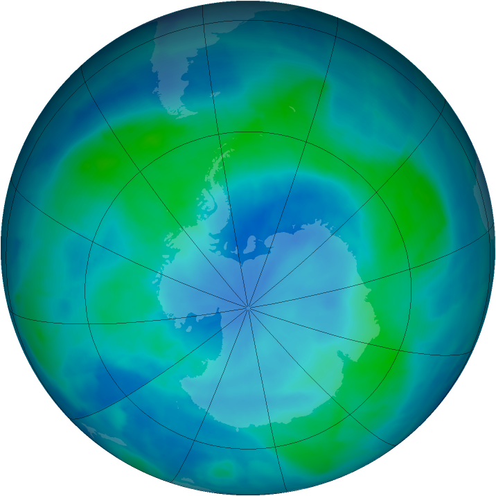 Antarctic ozone map for 27 February 2009