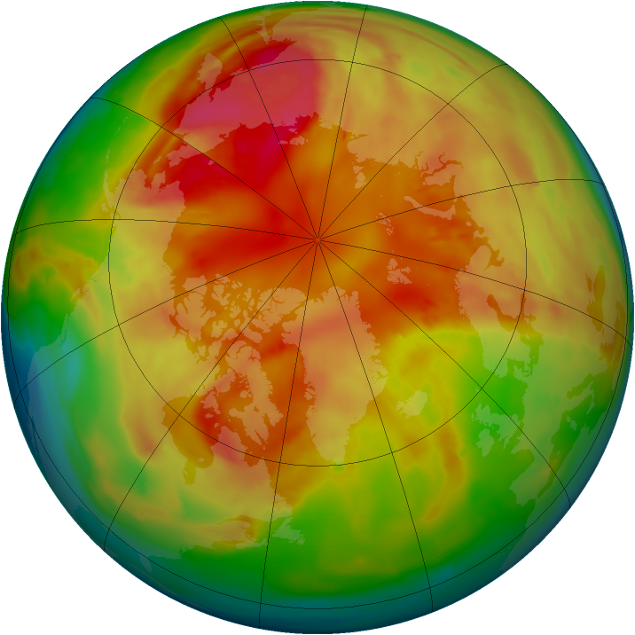 Arctic ozone map for 28 February 2009