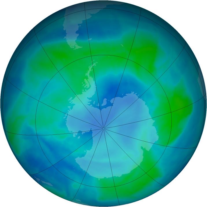 Antarctic ozone map for 28 February 2009