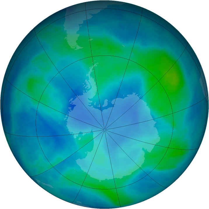 Antarctic ozone map for 02 March 2009