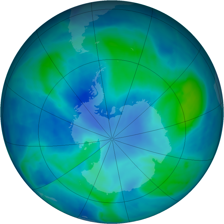 Antarctic ozone map for 03 March 2009