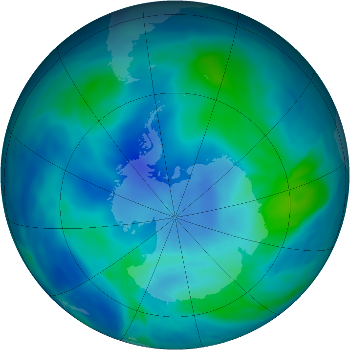 Antarctic ozone map for 04 March 2009