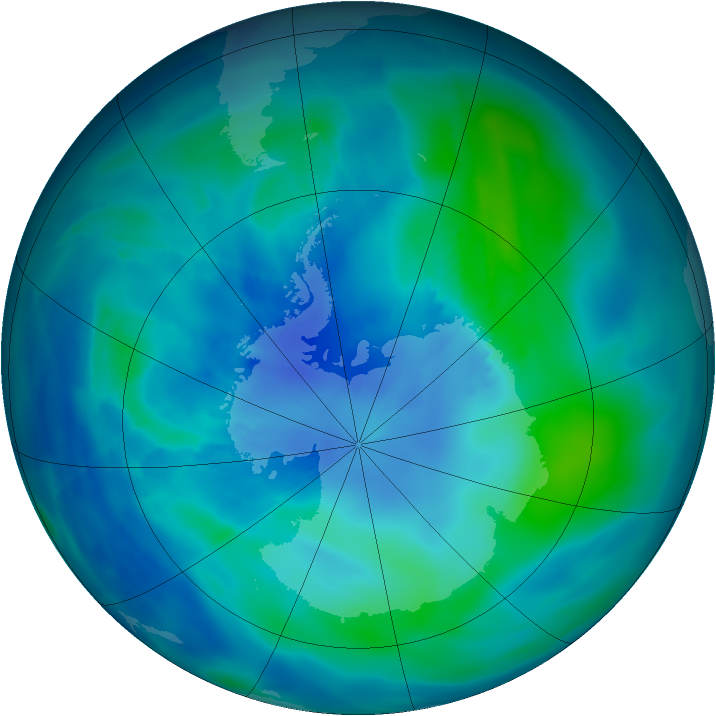 Antarctic ozone map for 05 March 2009