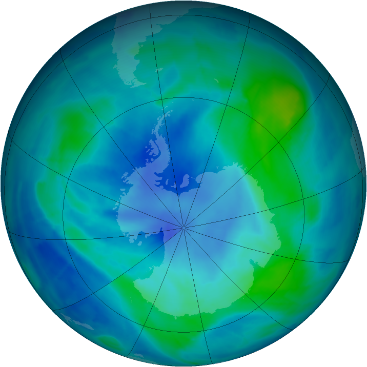 Antarctic ozone map for 06 March 2009