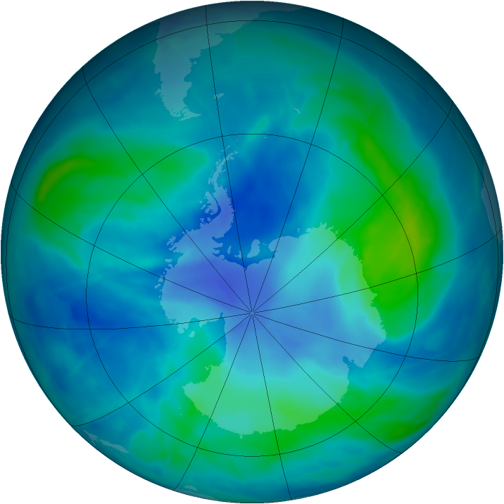 Antarctic ozone map for 08 March 2009