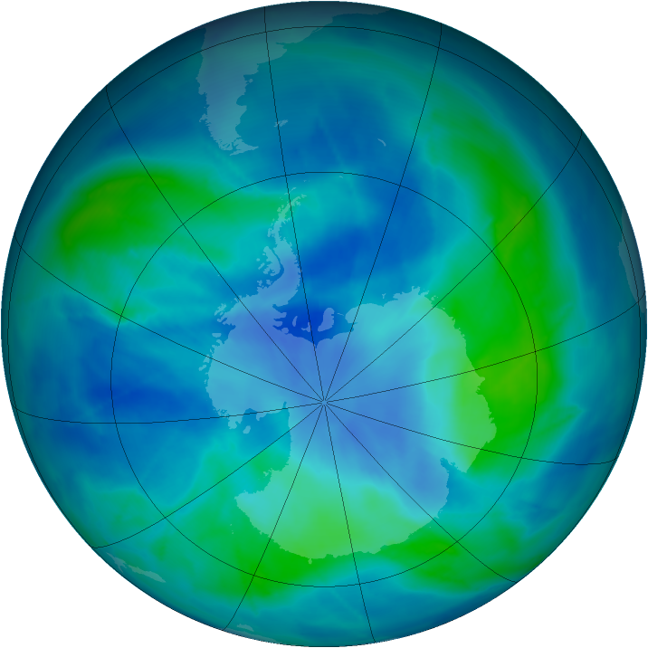 Antarctic ozone map for 09 March 2009