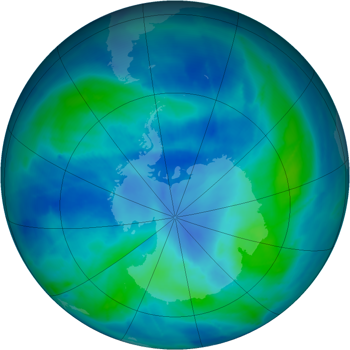 Antarctic ozone map for 10 March 2009