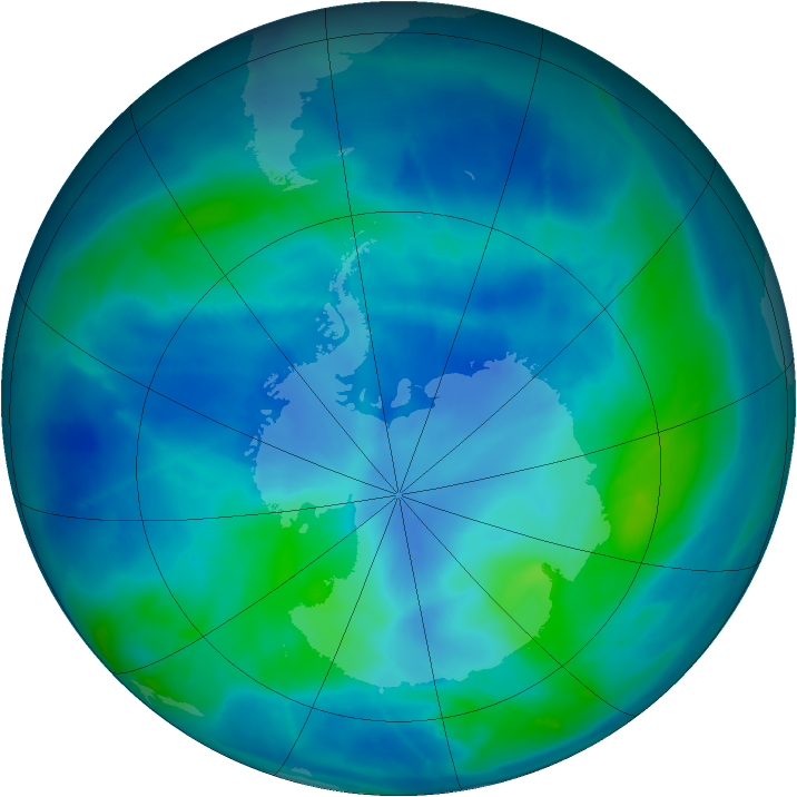 Antarctic ozone map for 11 March 2009