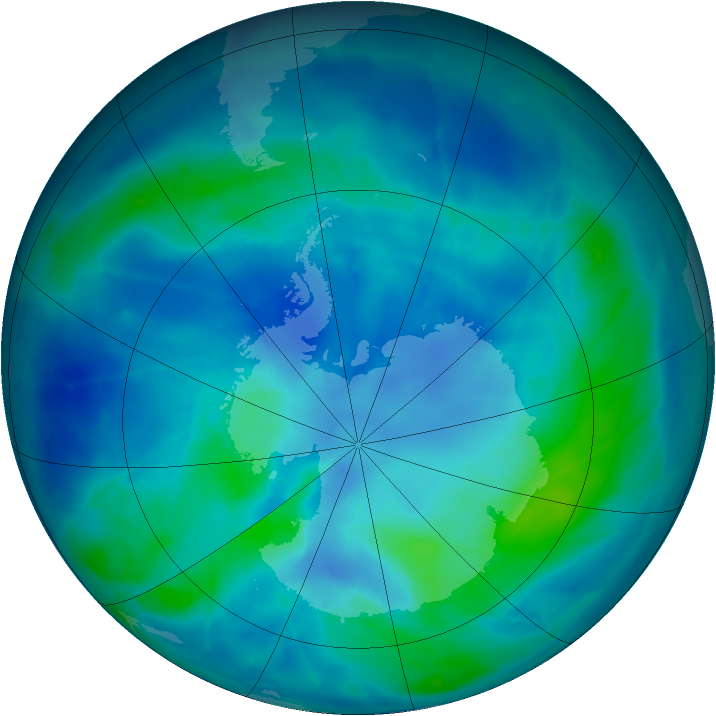 Antarctic ozone map for 12 March 2009