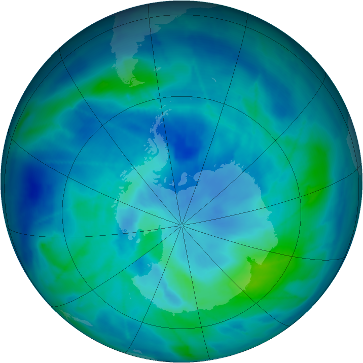 Antarctic ozone map for 13 March 2009