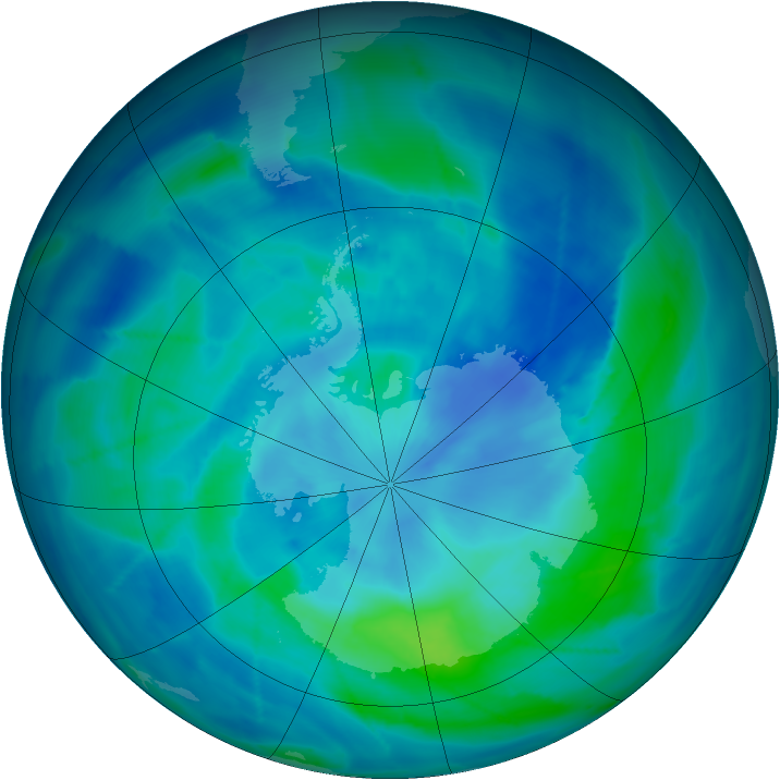 Antarctic ozone map for 15 March 2009