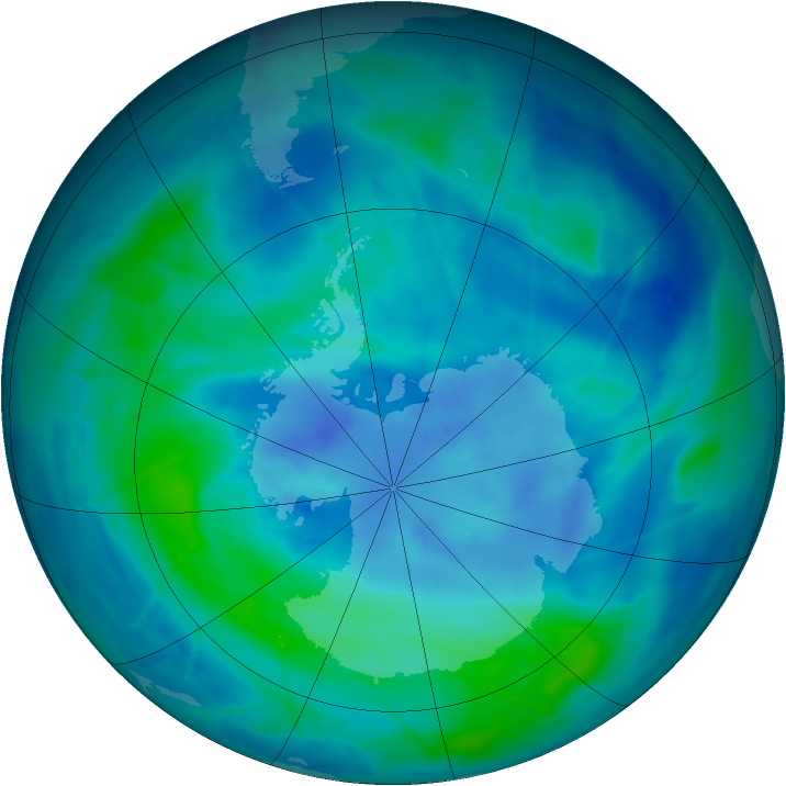 Antarctic ozone map for 18 March 2009