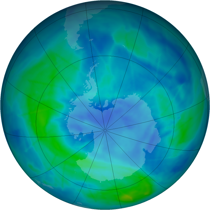 Antarctic ozone map for 19 March 2009