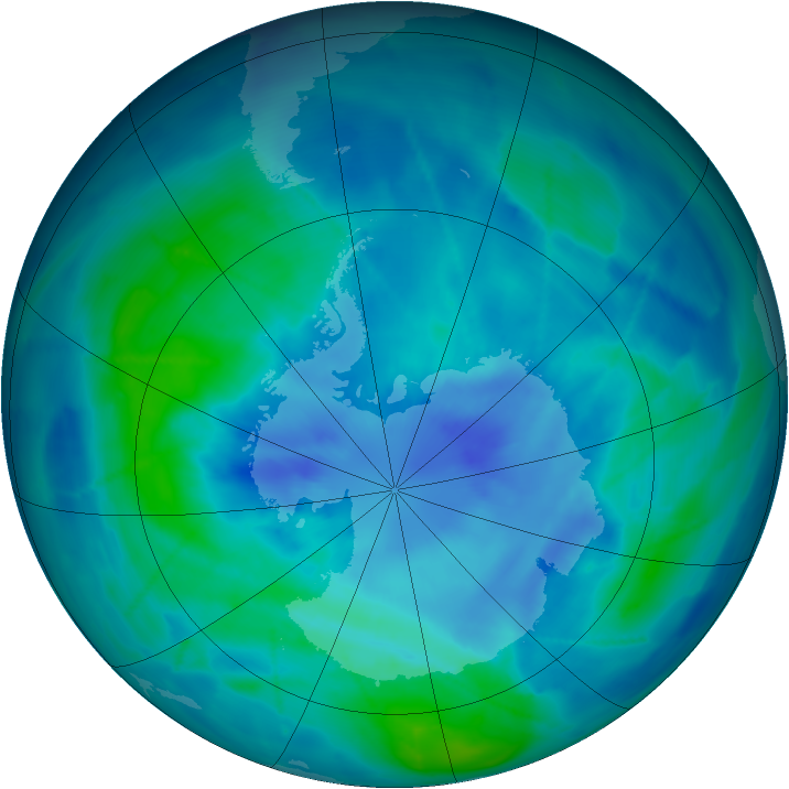 Antarctic ozone map for 20 March 2009