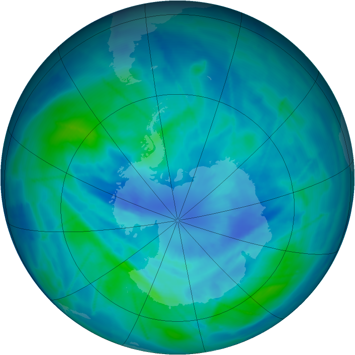 Antarctic ozone map for 23 March 2009