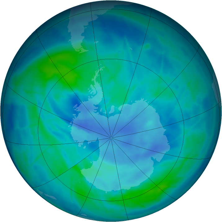 Antarctic ozone map for 24 March 2009