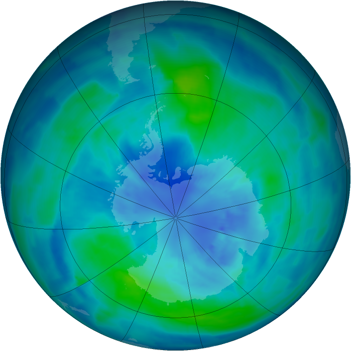 Antarctic ozone map for 27 March 2009