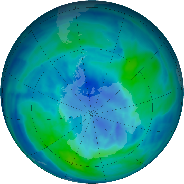Antarctic ozone map for 29 March 2009