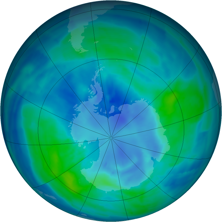 Antarctic ozone map for 30 March 2009